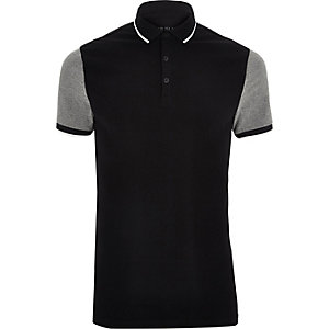 Big and Tall - Zwart poloshirt met contrasterende mouwen