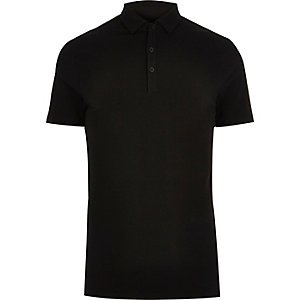 Big & Tall black muscle fit polo shirt