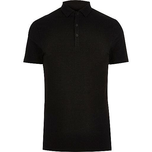 Big and Tall black muscle fit polo shirt