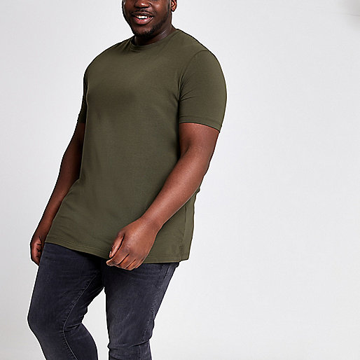 Big and Tall dark green muscle fit T-shirt