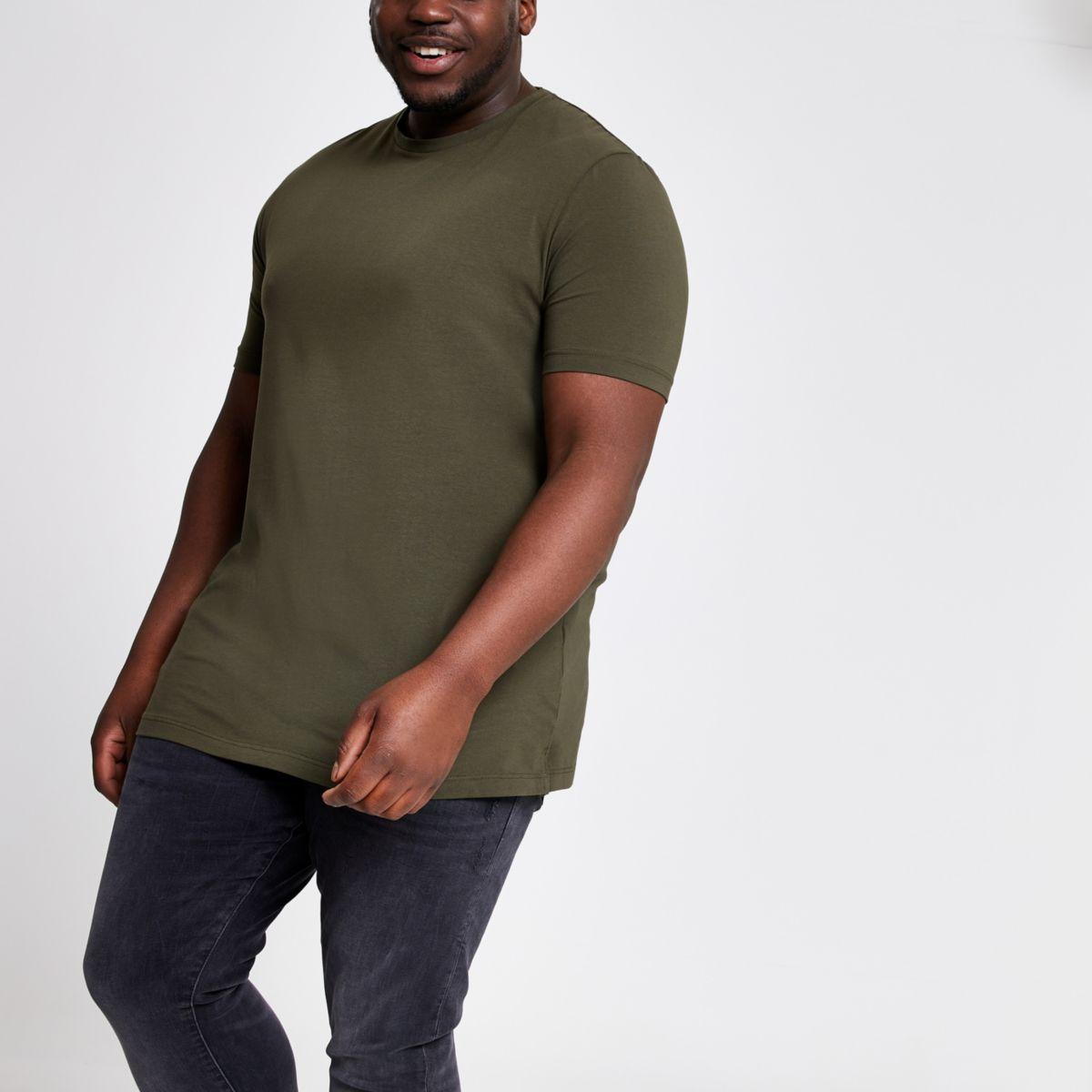 Big & Tall – Dunkelgrünes Muscle Fit T-Shirt