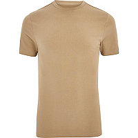 Big and Tall light brown muscle fit T-shirt