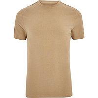 Big & Tall - T-shirt ajusté marron clair