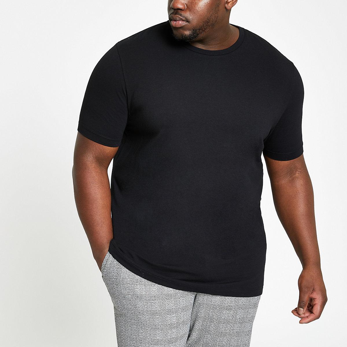 Big & Tall – Schwarzes T-Shirt mit Rundhalsausschnitt