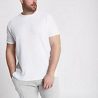 RI Big and Tall - Wit T-shirt met ronde hals en wafeldessin