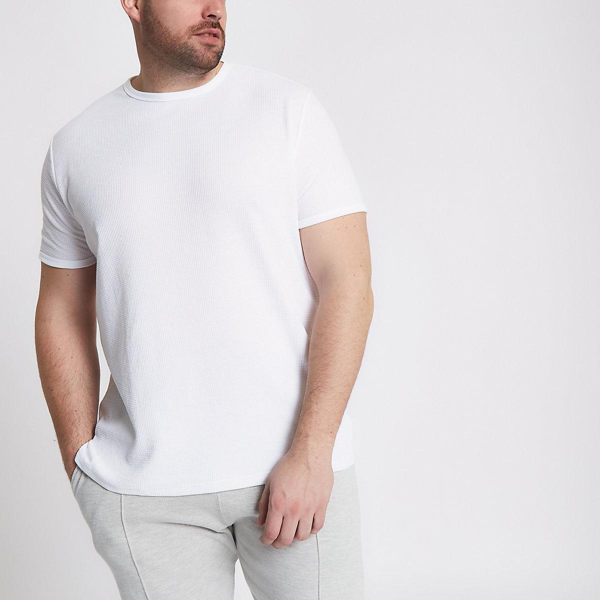 Big & Tall - T-shirt blanc ras du cou gaufré