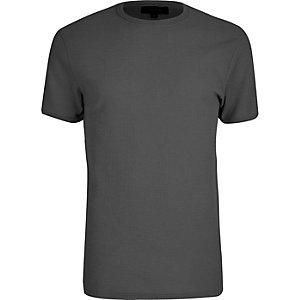 Big and Tall - Donkergrijs T-shirt met ronde hals