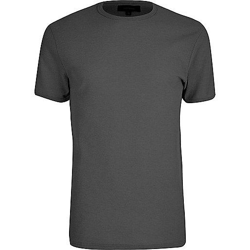 Big and Tall dark grey crew neck T-shirt