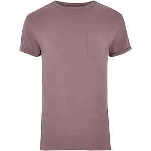 Big & Tall – T-Shirt in Lila mit abgerundetem Saum