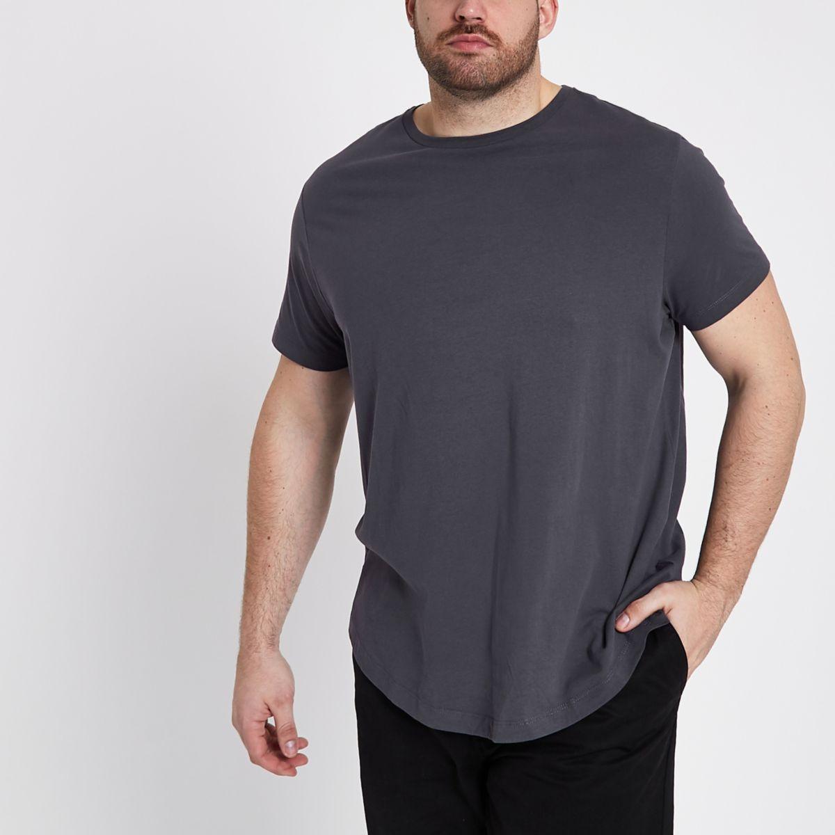 Big and Tall dark grey curved hem T-shirt