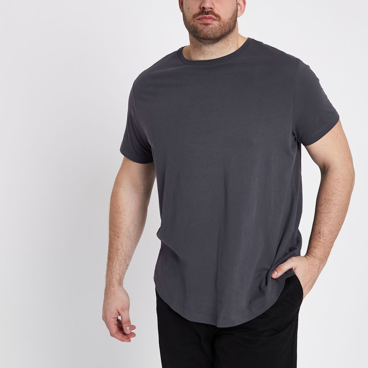 T-shirt Big & Tall gris foncé à ourlet arrondi