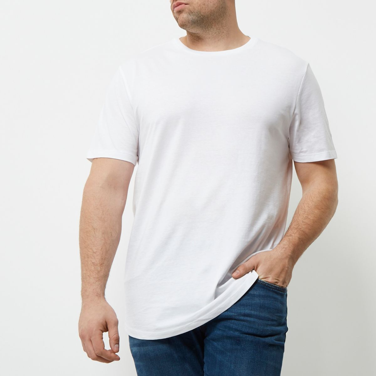 Big and Tall white curved hem T-shirt