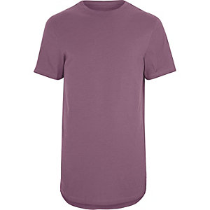 Big & Tall – Pinkes T-Shirt mit Rollärmeln