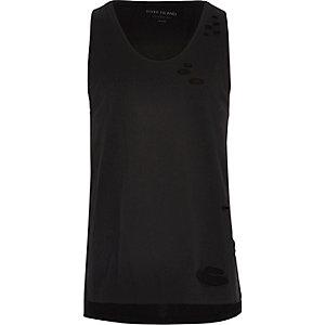 Black distressed casual vest