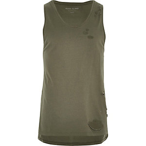 Khaki green distressed casual vest