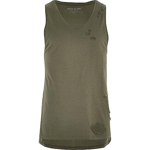 Khaki green distressed casual vest