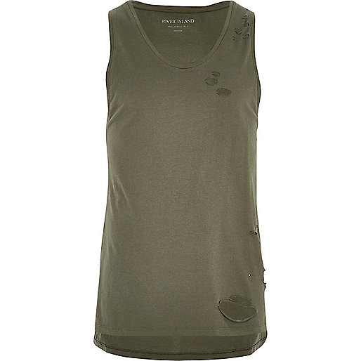 Khaki green distressed casual tank