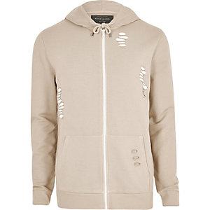 Kiezelkleurige ripped hoodie met rits voor