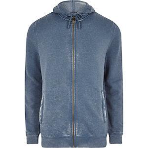 Blauwe washed hoodie met rits voor