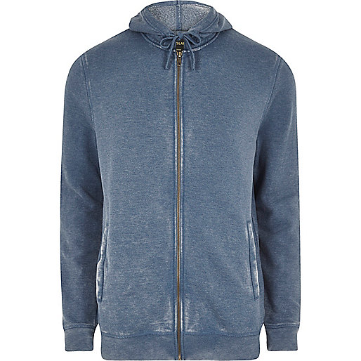 Blue washed zip front hoodie