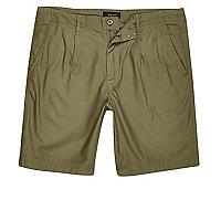 Khaki green slim fit shorts
