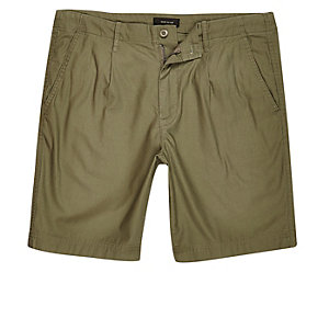 Khaki green slim fit shorts