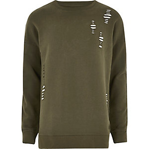 Khaki green ripped sweatshirt