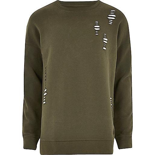 Khaki green ripped sweatshirt
