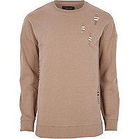 Big and Tall dark pink distressed sweatshirt