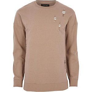 Big and Tall - Donkerroze distressed sweatshirt