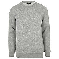 Big and Tall grey marl crew neck sweatshirt