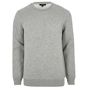 Big and Tall - Gemêleerd grijs sweatshirt met ronde hals