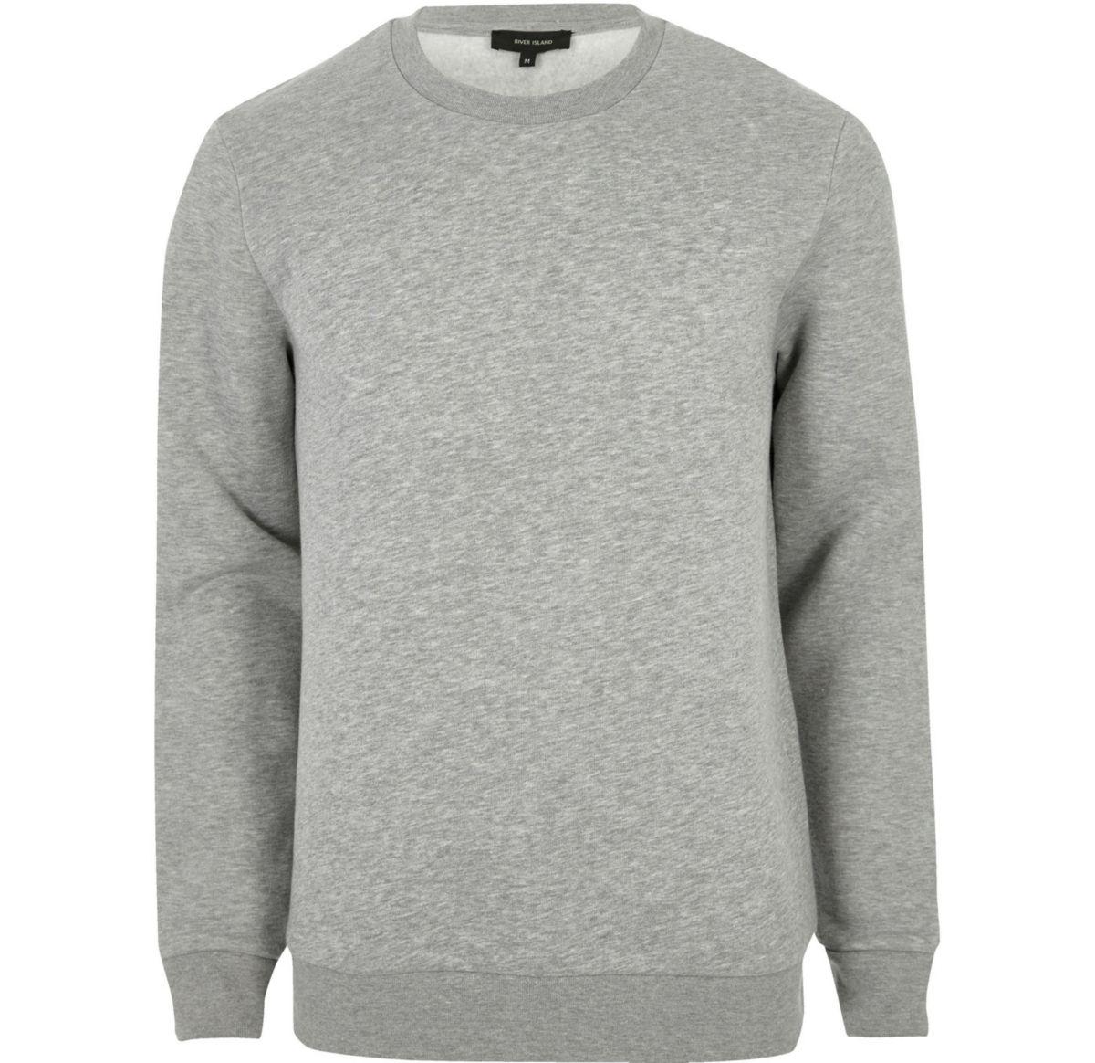 Big & Tall – Graues, meliertes Sweatshirt mit Rundhalsausschnitt