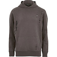 Big and Tall grey distressed hoodie