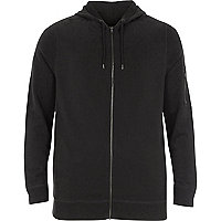 Big and Tall black zip front hoodie