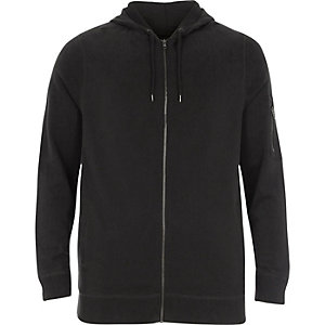 Big & Tall – Schwarzer Hoodie im Used-Look