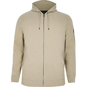 RI Big and Tall - Kiezelkleurige hoodie met rits voor