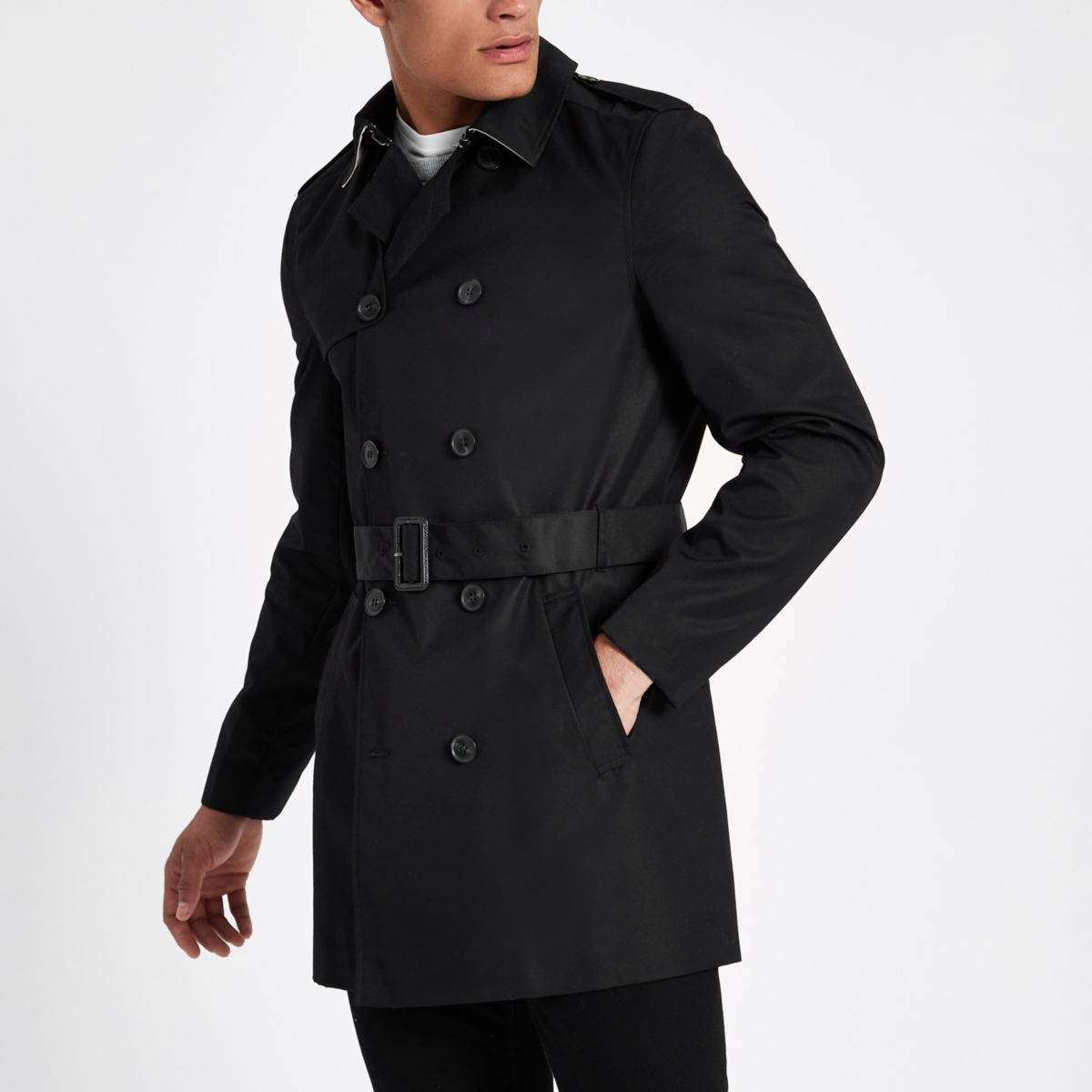 Black double breasted smart belted mac