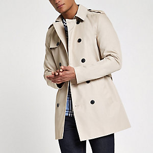 Light brown double breasted smart belted mac
