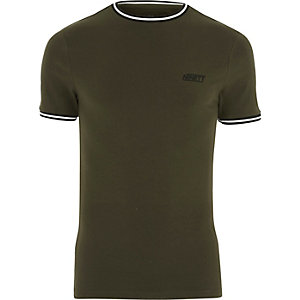 Khaki green sporty muscle fit T-shirt