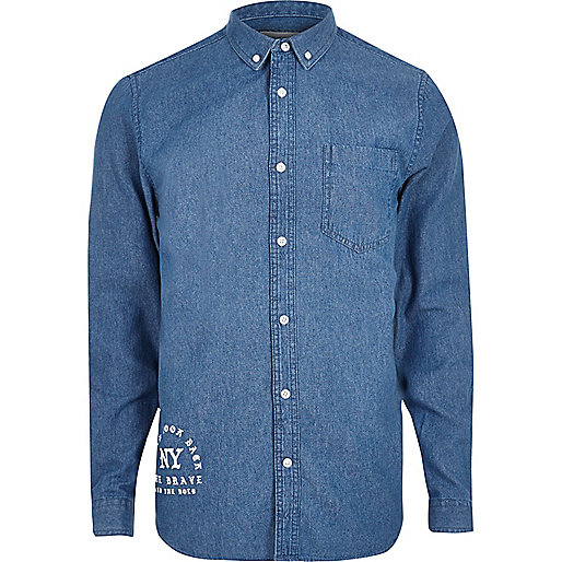 Blue gothic print casual denim shirt