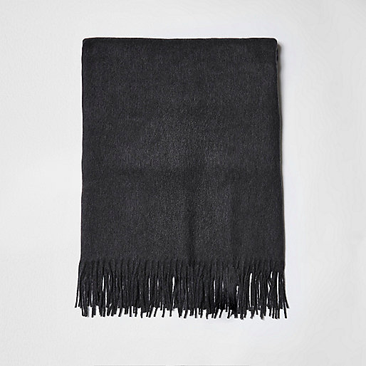 Grey tassel brushed scarf