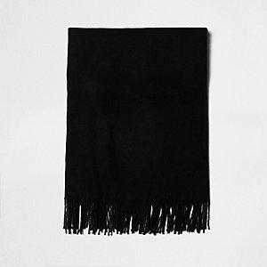 Zwarte opgeruwde sjaal met franje