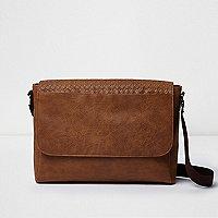 Brown lattice panel satchel bag