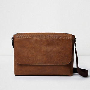Brown lattice panel satchel bag