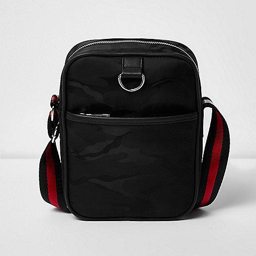 Black camo cross body flight bag
