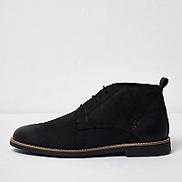 Schwarze Chukka-Stiefel aus Leder