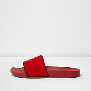 Red heatseal 'NY' print sliders