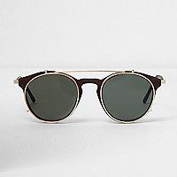 Brown clip on round sunglasses