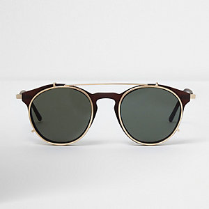 Brown clip on round sunglasses